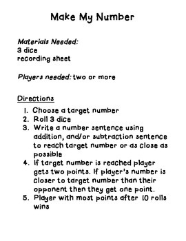 Target Number - 3 addends practice