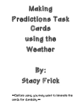 Make Predictions About The Weather Task Cards