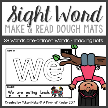 Pre-Primer Sight Word Make & Read Play Dough Mats