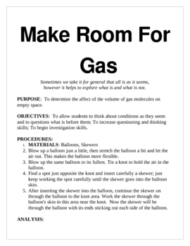 Make Room for Gas: Volume and Empty Space