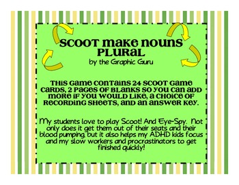 Make Singular Nouns Plural Spelling Scoot or Eye-Spy
