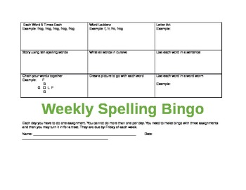 Make Spelling Fun: Weekly Assignment Sheet