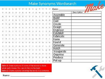 Make Synonyms Wordsearch Sheet Starter Activity English Vocabulary
