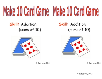 Make Ten Card Game Math