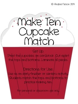 Make Ten Cupcake Match