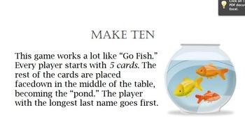 Make Ten Math Centers Game