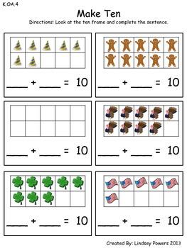 Make Ten: Math for Kindergarten