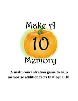 Make Ten Memory Game  {October}