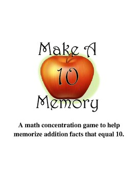 Make Ten Memory Game  {September}