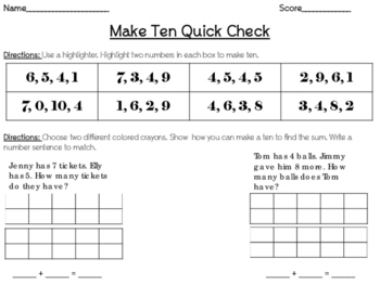 Make Ten Quick Check and Extra Practice