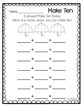 Ways to Make Ten - Spring Rain Theme