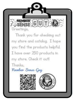 Number Sense Guy Product Catalog