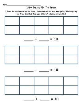 Make Ten on a Ten Frame