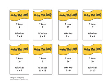 Make The Loop Game Cards Addition to 24