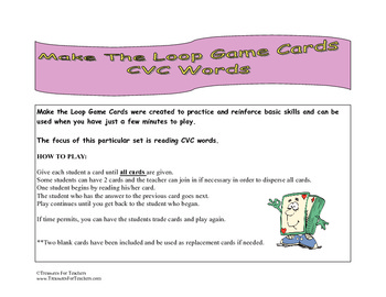 Make The Loop Game Cards - CVC Words