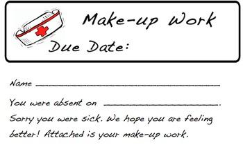 Make Up Work Sheet