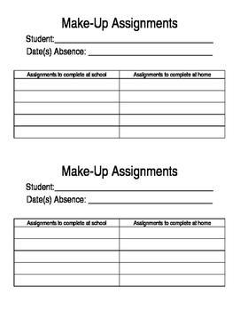 Make-Up work assignment sheet