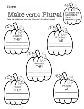Make Verbs Plural (Pumpkin Theme)