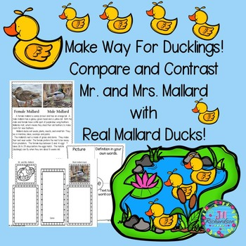 Make Way For Ducklings Book Companion (Paired Text) Great for ESL Activities!