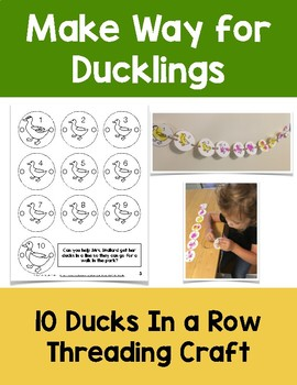 Make Way For Ducklings: Ten Ducks In a Row Threading Craft
