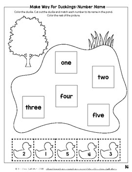 Make Way For Ducklings: Matching Game and Counting Worksheets (Numbers 1-10)