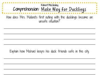 Make Way for Ducklings by Robert McCloskey:    A Complete Literature Study!