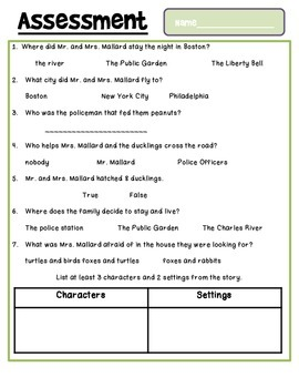 Make Way for Ducklings - A Guided Reading Student Journal and Assessment