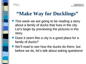 """""""Make Way for Ducklings"""" - Asking Questions"""