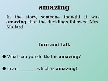 Make Way for Ducklings | Tier 2 Vocabulary | Text Talk | Collaborative