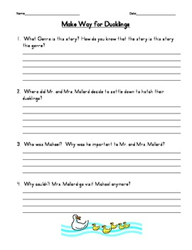 Make Way for Ducklings Comprehension Questions
