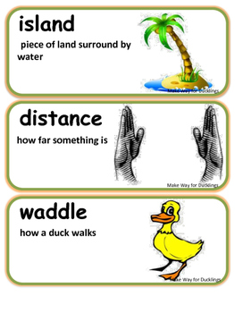ReadyGen Make Way for Ducklings Vocabulary / Kindergarten / Unit 1, Module A