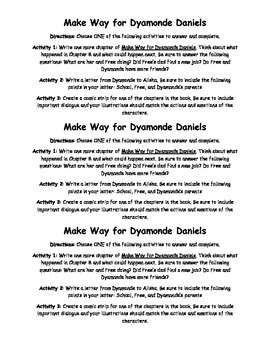 Make Way for Dyamonde Daniels Activity
