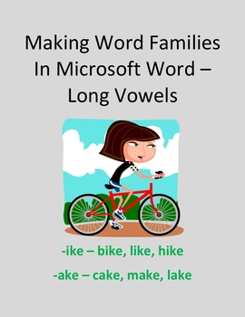 Make Word Families In Microsoft Word – Long Vowels