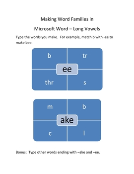 Make Word Families In Microsoft Word – Long Vowels