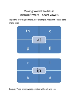 Make Word Families In Microsoft Word – Short Vowels