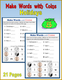 Money:  Make Words with Coins (Holidays)