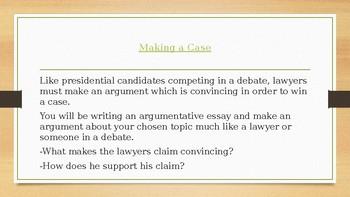 Make Your Case! -Argumentative Essay Writing Mini-Unit