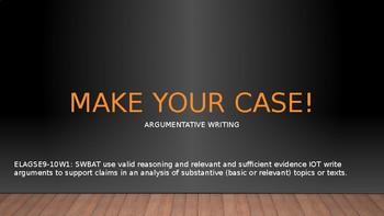 Make Your Case: Argumentative Writing