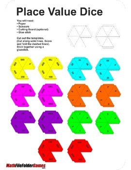 Make Your Own 10 Sided Place Value Dice (thousandths - thousands)