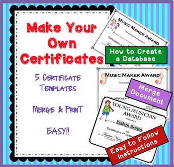 how to make your own music certificates by janis aston tpt