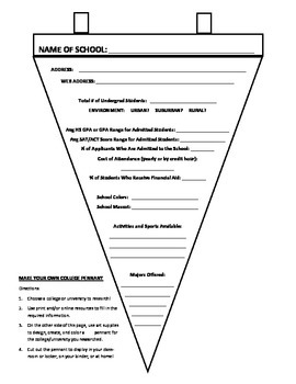 Make Your Own College Pennant Research Activity (AVID)
