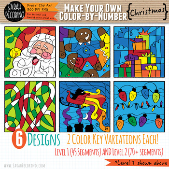 Make Your Own Color-By-Number Blank Clip Art - CHRISTMAS