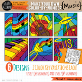 Make Your Own Color-By-Number Blank Clip Art - MUSIC