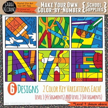 Make Your Own Color-By-Number Blank Clip Art - SCHOOL SUPPLIES