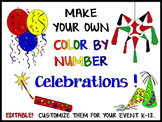 Holidays and Celebrations Color-By-Number Puzzles (EDITABLE)