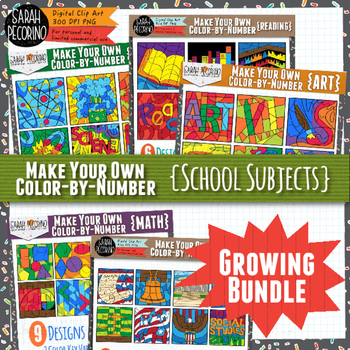 Make Your Own Color-by-Number Blank Clip Art Growing Bundle {School Subjects}