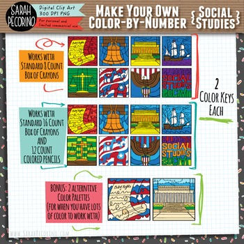 Make Your Own Color-by-Number Blank Clip Art - SOCIAL STUDIES