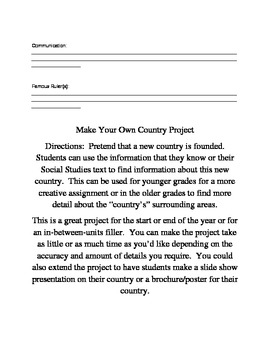 Make Your Own Country Project