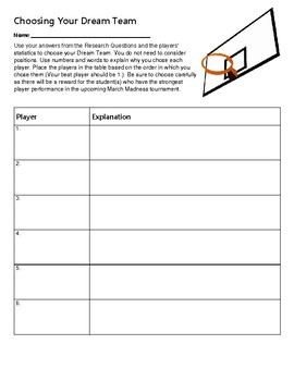 Make Your Own Dream Team - March Madness Fractions, Decimals, and Percents