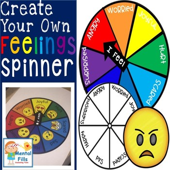 make your own feelings spinner by mental fills counseling tools tpt